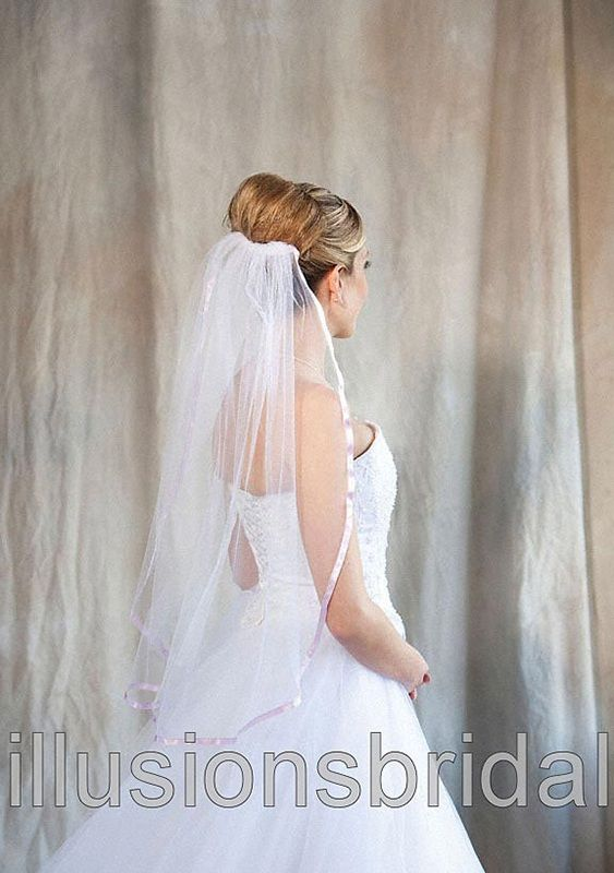 Illusions Bridal Colored Veils and Edges with Lavendar Ribbon Edge
