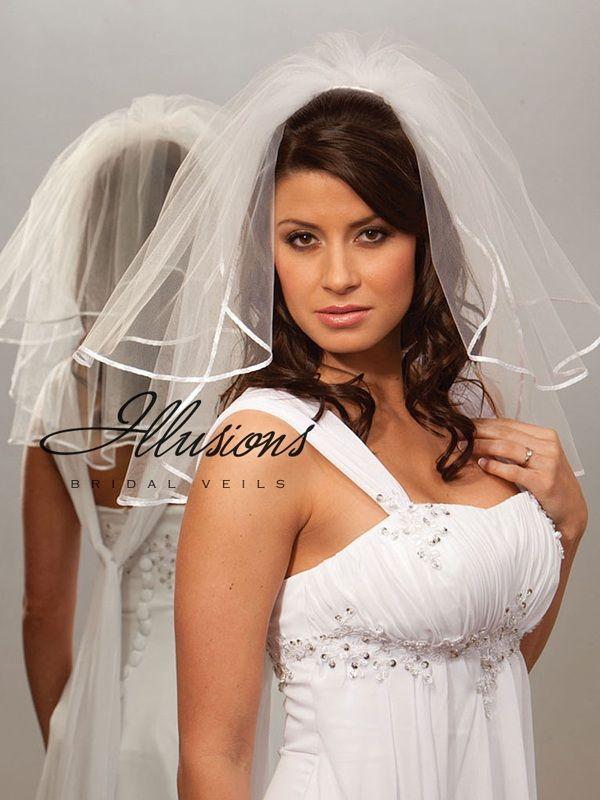 Illusions Bridal Ribbon Edge Veil S5-202-1R: Pearl Accent