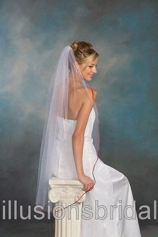 Illusions Bridal Colored Veils and Edges: Garnet Rattail Edge