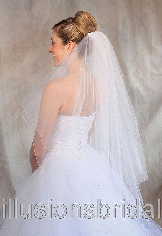 Illusions Bridal Colored Veils and Edges: Pink Corded Edge