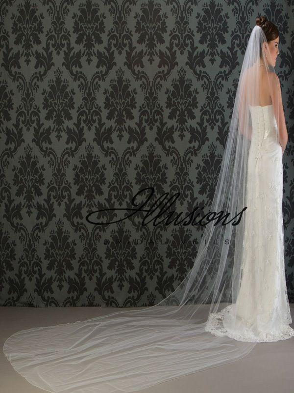 Illusions Bridal Corded Edge Veil 7-1441-C: Pearl Accent