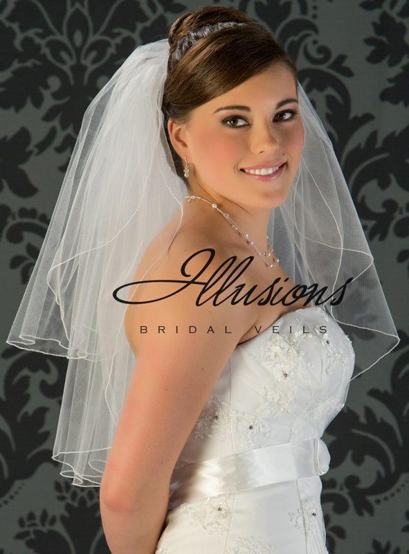 Illusions Bridal Corded Edge Veil S1-252-C: Ivory