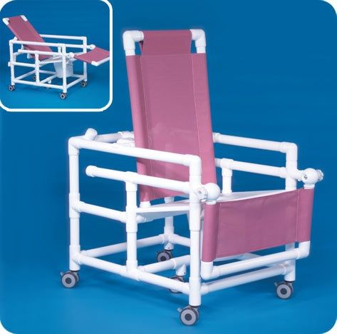 Reclining Shower Chair Commode W/flat Seat