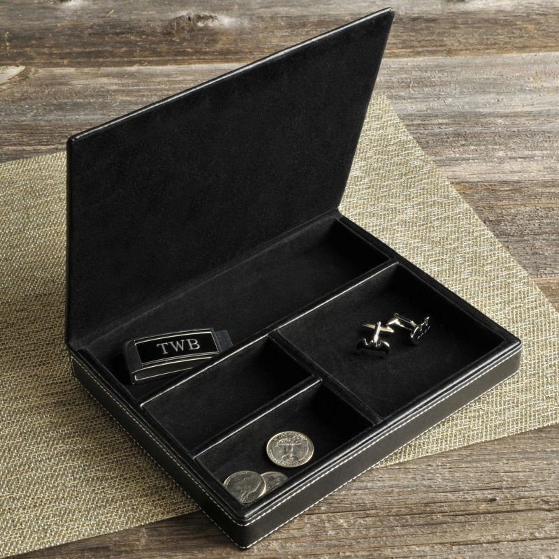 Personalized Valet Tray - Deluxe - Leather