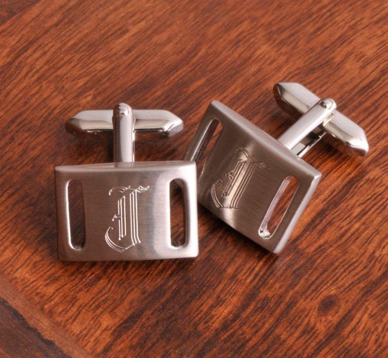 Personalized Marlon Cufflinks - Brushed Silver