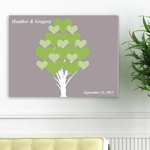 Personalized Guestbook Canvas - Tree Of Hearts