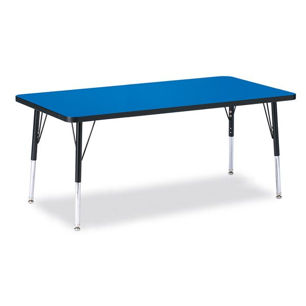 """Berries®Rectangle Activity Table - 30"""" X 60"""", E-Height - Blue/Black/Black"""