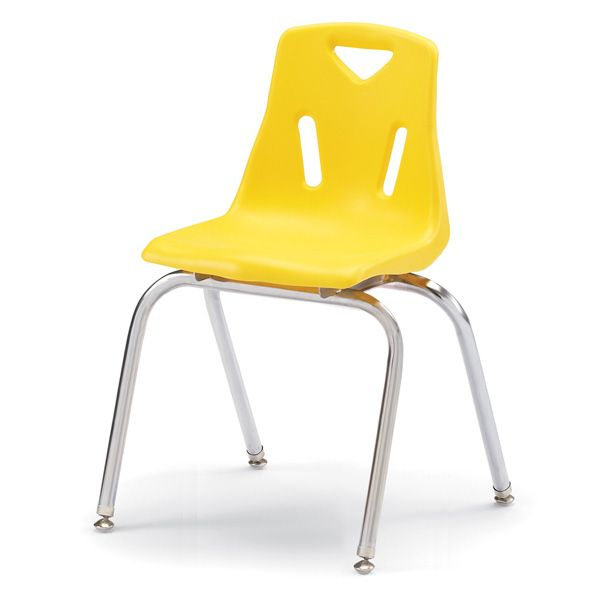 """Berries®Stacking Chairs With Chrome-Plated Legs - 18"""" Ht - Set Of 6 - Yellow"""