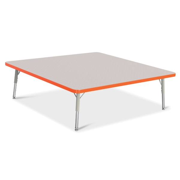"""Berries®Square Activity Table - 48"""" X 48"""", T-Height - Gray/Orange/Gray"""