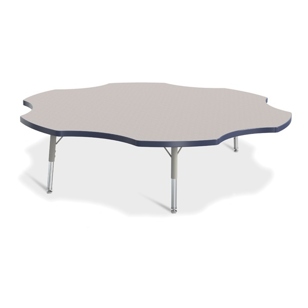 """Berries® Six Leaf Activity Table - 60"""", T-Height - Gray/Navy/Gray"""