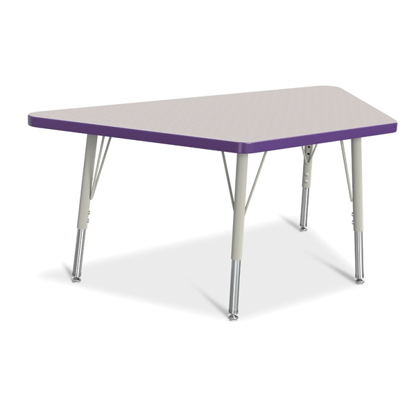 """Berries® Trapezoid Activity Tables - 24"""" X 48"""", E-Height - Gray/Purple/Gray"""