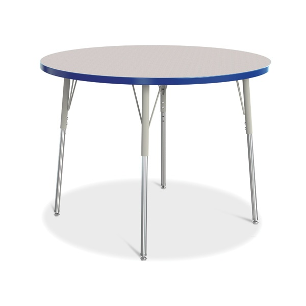 """Berries®Round Activity Table - 42"""" Diameter, A-Height - Gray/Blue/Gray"""
