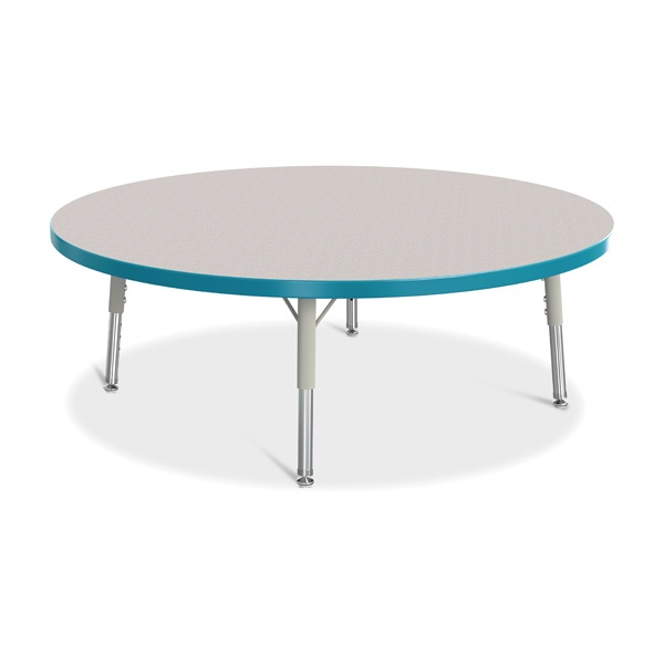 """Berries®Round Activity Table - 42"""" Diameter, T-Height - Gray/Teal/Gray"""