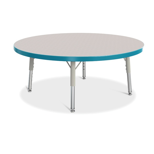 """Berries®Round Activity Table - 36"""" Diameter, T-Height - Gray/Teal/Gray"""