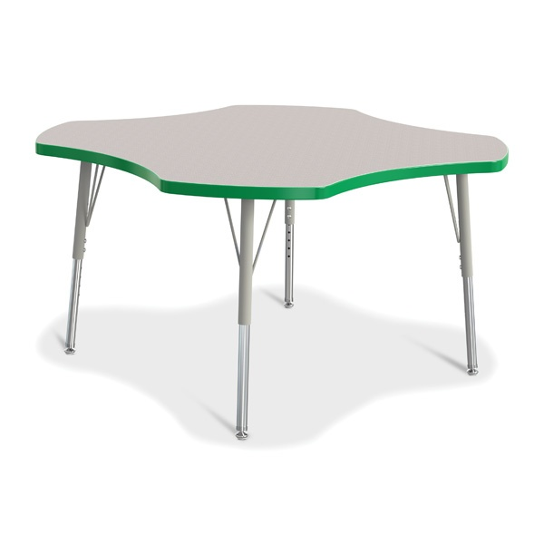 Berries®Four Leaf Activity Table, E-Height - Gray/Green/Gray