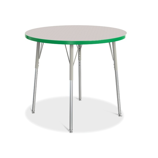 """Berries®Round Activity Table - 36"""" Diameter, A-Height - Gray/Green/Gray"""