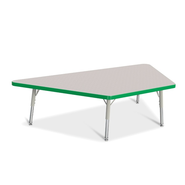 """Berries® Trapezoid Activity Tables - 30"""" X 60"""", T-Height - Gray/Green/Gray"""