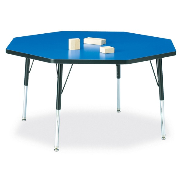 """Berries® Octagon Activity Table - 48"""" X 48"""", E-Height - Blue/Black/Black"""