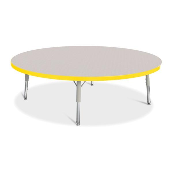 """Berries® Round Activity Table - 48"""" Diameter, T-Height - Gray/Yellow/Gray"""