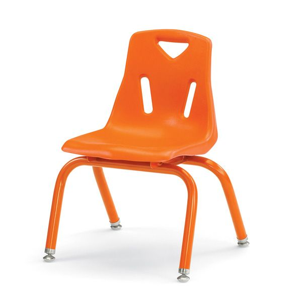 """Berries®Stacking Chairs With Powder-Coated Legs - 12"""" Ht - Set Of 6 - Orange"""