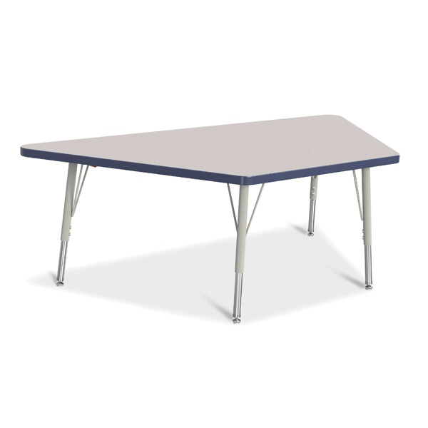 "Berries®Trapezoid Activity Tables - 30"" X 60"", E-Height - Gray/Navy/Gray"