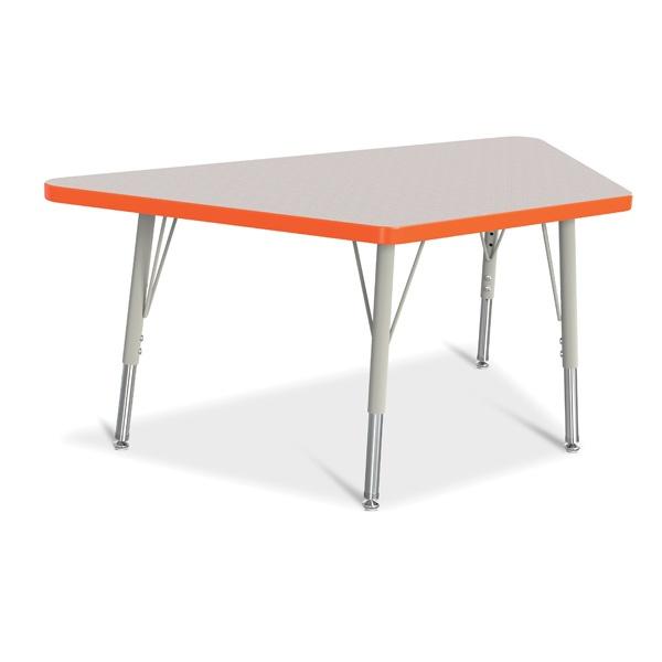 "Berries®Trapezoid Activity Tables - 24"" X 48"", E-Height - Gray/Orange/Gray"