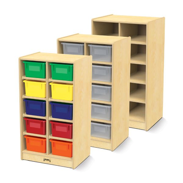 Jonti-Craft®10 Cubbie-Tray Mobile Unit - With Colored Trays