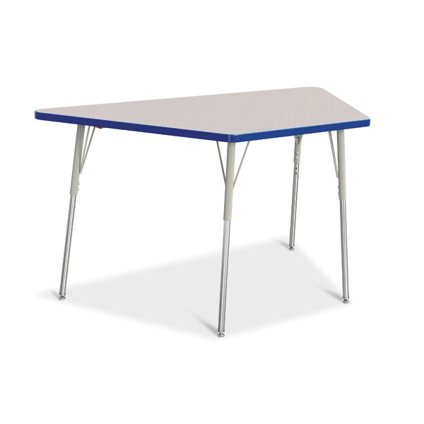 """Berries®Trapezoid Activity Tables - 30"""" X 60"""", A-Height - Gray/Blue/Gray"""