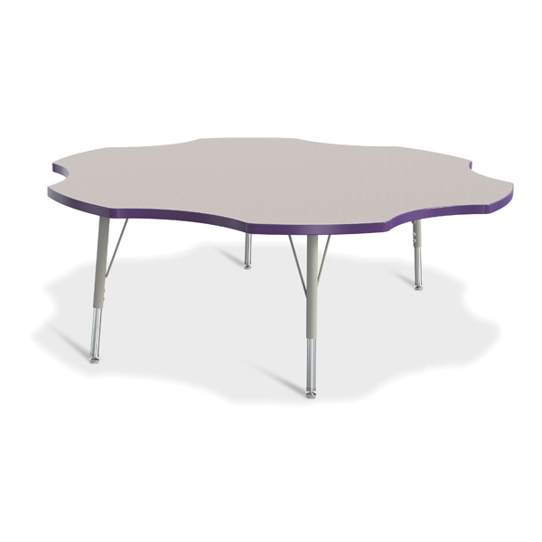 """Berries®Six Leaf Activity Table - 60"""", E-Height - Gray/Purple/Gray"""