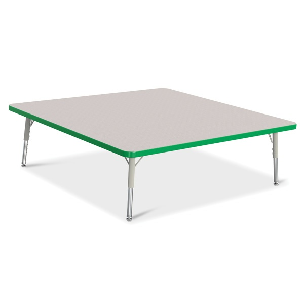 """Berries®Square Activity Table - 48"""" X 48"""", T-Height - Gray/Green/Gray"""