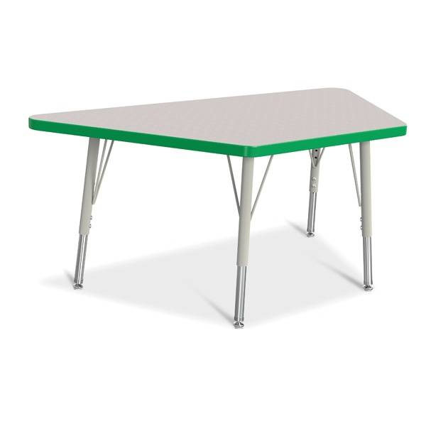 """Berries®Trapezoid Activity Tables - 24"""" X 48"""", E-Height - Gray/Green/Gray"""