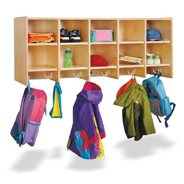 Jonti-Craft®10 Section Wall Mount Coat Locker - Without Trays