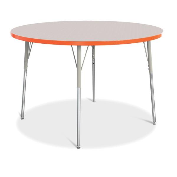 "Berries® Round Activity Table - 48"" Diameter, A-Height - Gray/Orange/Gray"