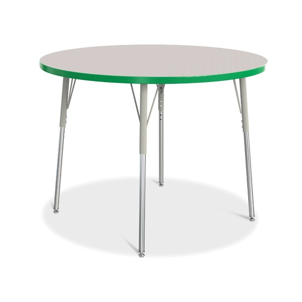 """Berries®Round Activity Table - 42"""" Diameter, A-Height - Gray/Green/Gray"""