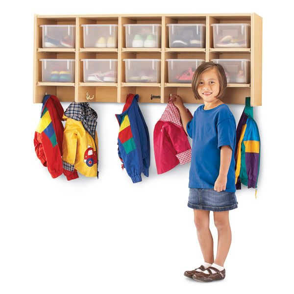 Maplewave® 10 Section Wall Mount Coat Locker - Without Cubbie-Trays