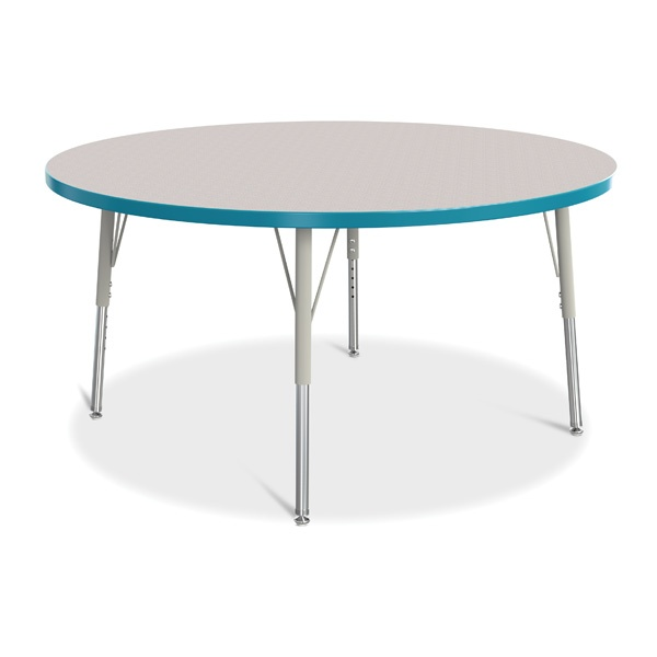 """Berries®Round Activity Table - 48"""" Diameter, E-Height - Gray/Teal/Gray"""