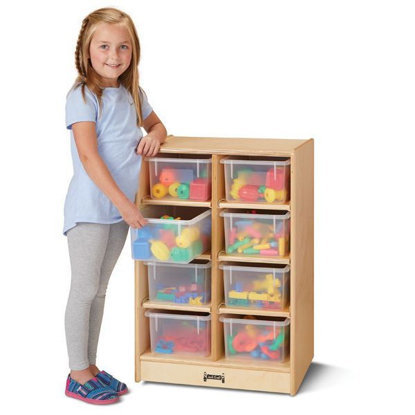 Jonti-Craft®8 Cubbie-Tray Mobile Unit - With Clear Trays