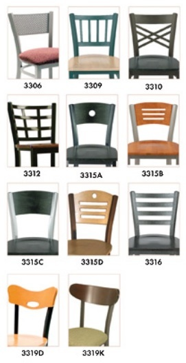 """KFI BR3310-WS """"3300"""" Series Metal Back Cafe Chair with Wood Seat"""
