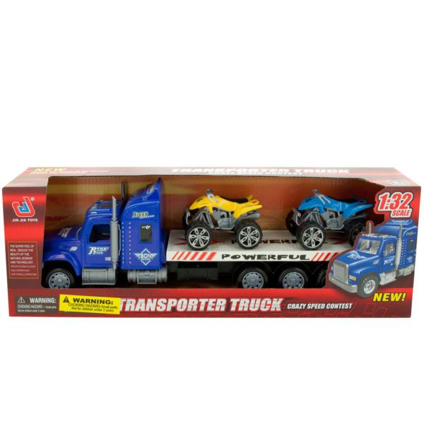 Friction Powered Toy Trailer Truck With Atvs, Pack Of 2