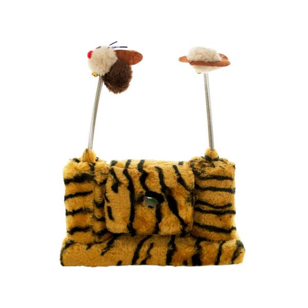 Faux Tiger Fur Cat Playset With Spring Toys