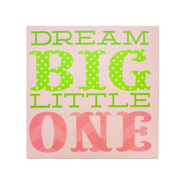 Dream Big Little One Canvas Wrapped Wall Art, Pack Of 2