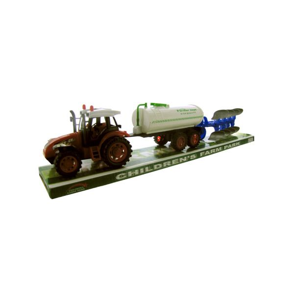 Friction Farm Tractor Truck & Double Trailer Set