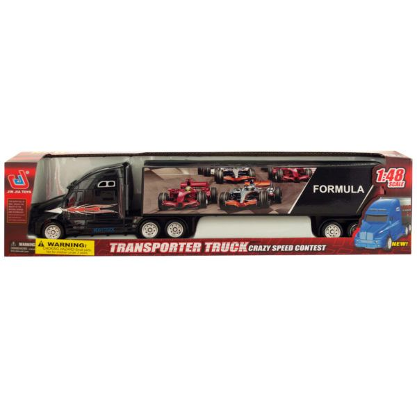 Friction Powered Trailer Truck With Race Car Decals, Pack Of 2