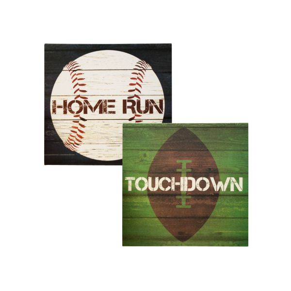 Sports Theme Canvas Wrapped Wall Art, Pack Of 2