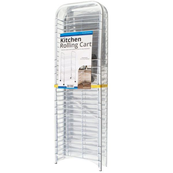 Large White 4-Tier Rolling Kitchen Cart