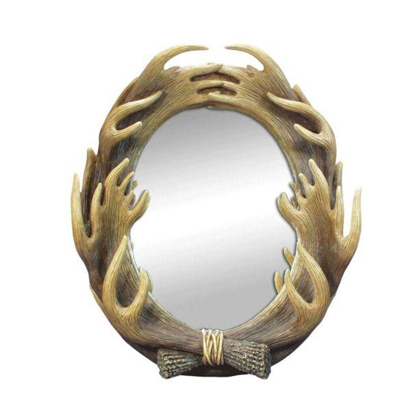 Moose Antlers Oval Wall Mirror, Pack Of 2