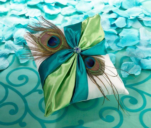 Peacock Ring Bearer Pillow