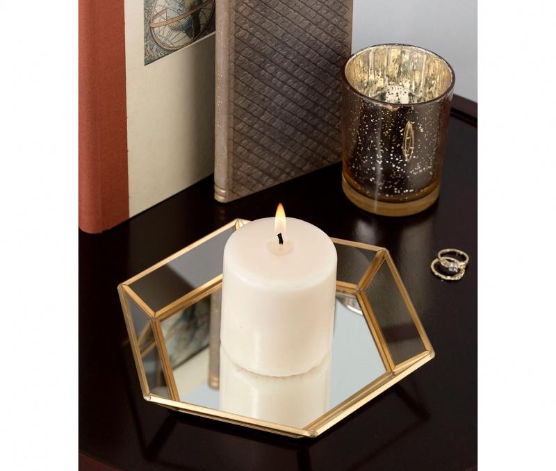 Geometric Gold Edge Mirrored Tray Wedding Guestbook Alternative