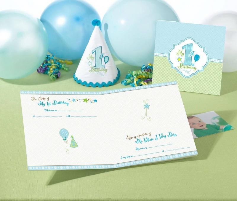 First Birthday Blue Memory Book