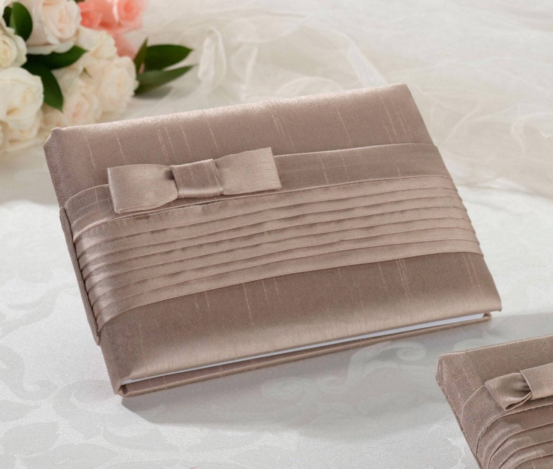 Taupe Pleated Silk Guest Book